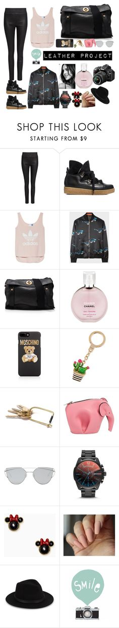 """chick 📷 project leather"" by zonecoquette ❤ liked on Polyvore featuring IRO, Ganni, adidas, Paul Smith, Yves Saint Laurent, Chanel, Moschino, Kate Spade, Loewe and Gentle Monster"