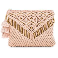 Trendy Women's Bags : Picture Description Sevigny Clutch by Cleobella. Woven cotton exterior with cotton fabric lining. Zip top closure with fringed tassel accented pull. Macrame Purse, Tassel Purse, Pink Clutch, Macrame Design, Pink Handbags, Macrame Projects, Diy Décoration, Macrame Patterns, Handmade Bags