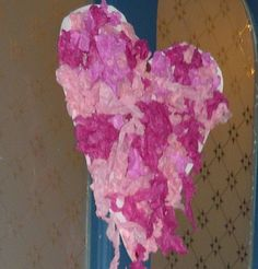 Tissue Paper mosaic heart door wreath - fun craft for the tiniest of hands on Valentines Day Paper Mosaic, Door Wreaths, Tissue Paper, Fun Crafts, Jelly, Valentines Day, Hearts, How To Make, Fun Diy Crafts