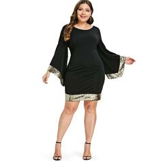 97339f4cb9d PLUS SIZE SEQUINS FLARE SLEEVE DRESS WOMEN V NECK LONG SLEEVE BODYCON DRESS  FEMALE OFFICE PARTY