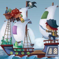 Pirates. Vinyl design for children event. Macus Romero