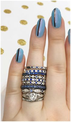 Sapphire and diamond stacking bands from Sylvie Collection! I love these wedding bands or just pretty rings. Sapphire and diamond stacking bands from Sylvie Collection! I love these wedding bands or just pretty rings. Affordable Diamond Rings, Unique Diamond Rings, Round Diamond Engagement Rings, Love Knot Ring, Bridal Ring Sets, Pretty Rings, Conflict Free Diamonds, Selling Jewelry, Vintage Diamond