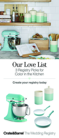 A new hue in the kitchen is always on the menu. We love this design combo of aqua and cream for a fresh way to whip up dessert for two or dinner for eight. Color in the kitchen, inspiration for the cook—what's not to love? Add fresh color to your registry, ASAPity.