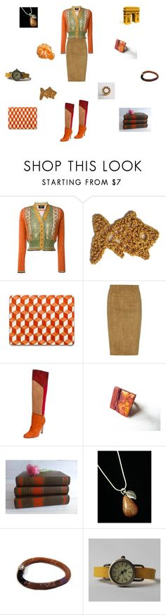"""""""Soft greens and orange"""" by einder ❤ liked on Polyvore featuring Jean-Paul Gaultier, STOULS and vintage"""