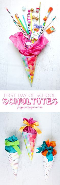 Easy DIY for back to school in the German tradition--a Schultute made in miniature filled with fun school supplies