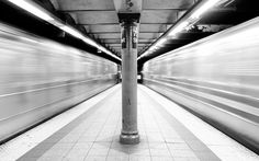 Black and White Photo of Subways in Motion, 72nd Street, New York, by James Maher Photography
