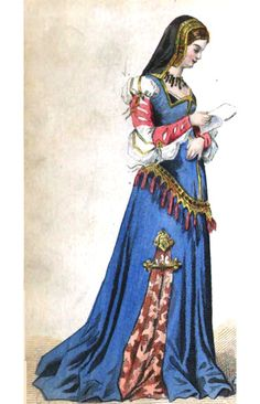 Renaissance historical costume: fashion style source. Women's, 15th century, France