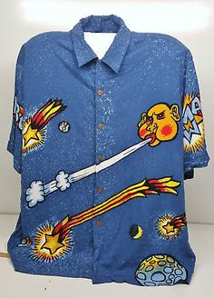 Rare Royal Mambo Loud Mens Shirt Size XL Cosmic Sun Moon Planets Reg Mombassa in Clothing, Shoes, Accessories, Men's Clothing, Casual Shirts Vintage Outfits, Vintage Clothing, Sun Moon, Cosmic, Casual Shirts, Planets, Men Casual, Mens Tops, Clothes