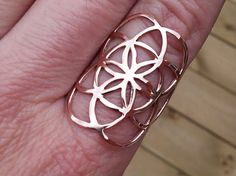 seed of life ring in solid rose gold 10k ( sacred geometry)