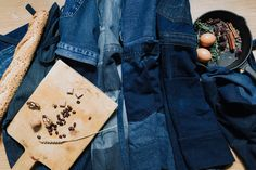 Remade denim aprons collection by Yours Again #remade #denim #denimapron #apron #collection #sustainable #upcycled #bluedenim #unique #eco #urban #cooking #yoursagain