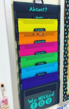 16 best absent work images in 2016 Teacher Hacks, Teacher Desk Organization, Classroom Organisation, Classroom Management, Behavior Management, Teacher Binder, 3rd Grade Classroom, Middle School Classroom, Math Classroom