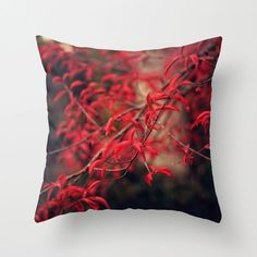 Woodland Pillow Cover - throw pillow cover tree nature living room bedroom winter home decor dark brown moody dark red (etsy)