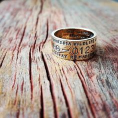Personalized 14K Solid Gold Ring Hand Stamped Duck Band Custom Promise Wedding Engraved Artisan Handmade