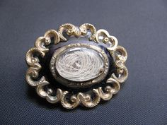 Victorian Mourning Brooch Hair and Enamel  by victoriansentiments, $75.00