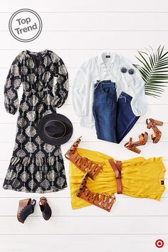 "Rock some of the '70s greatest hits. Like dresses? There's a bold- print peasant maxi (oh so boho), and a lightweight crinkle-chiffon in amber yellow—the decade's hottest hue. Then to finish off your look, aim high in a pair of platforms and round shades. The outfits don't include ""Hustle"" moves, but that's probably a good thing."