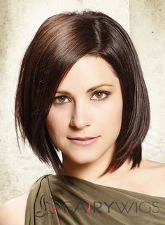 Medium Straight Formal Layered Bob Hairstyle - Dark Brunette Hair Color with Light Brunette Highlights - - Short Layered Bob Haircuts, Medium Bob Hairstyles, Weave Hairstyles, Straight Hairstyles, Layered Hairstyle, Brunette Bob Haircut, Dark Brunette Hair, Brunette Highlights, Brunette Color