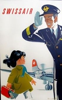 Swissair Pilot Cairo, 1949 - original vintage travel advertising poster by Donald Brun. Old Poster, Poster Retro, Poster Ads, Advertising Poster, Poster Vintage, Vintage Artwork, Retro Airline, Vintage Airline, Illustrations Vintage