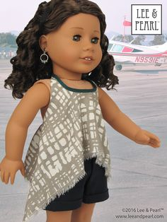 We made this trendy, fringed, high-low handkerchief hem top for our American Girl doll using Lee & Pearl Pattern 1032: Desert Sunrise Top or Maxi Dress for 18 inch dolls, and the free tweak-the-pattern adaptation in our June 2016 newsletter. Get the tweak — which also includes an Empire waist version — in our Newsletter Archive at http://www.leeandpearl.com/newsletters.html. And find Pattern 1032 in our Etsy shop at…