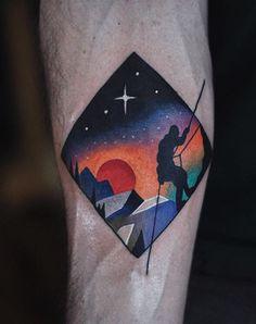 Technicolor psychedelic rock climber tattoo. - David Cote