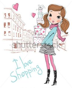Shopping girl in city