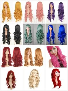 Women Curly Hair Long WAVE Front Lace Hair Cosplay Halloween Costume New Wig Cap #Cool2day #FullWig