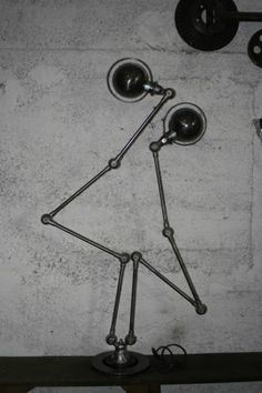 JIELDE DOUBLE 4 FRENCH INDUSTRIAL GRAPHITE FLOOR LAMP