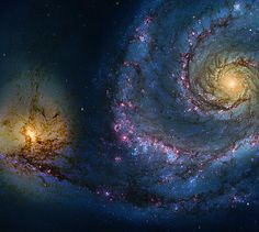 Also known as The Whirlpool galaxy, an interacting, grand-design, spiral galaxy that is estimated to be 23 ± 4 million light-years from the Milky Way Galaxy. in the constellation Canes Venatici.