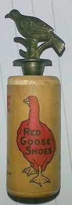 Rare Red Goose shoes wood and metal bird whistle.