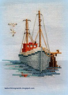 Boat & sea cross stitch