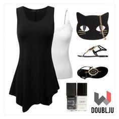 """Doublju Women Sleeveless Round Neck Unbalanced Long Tunic Top"" by doublju-company ❤ liked on Polyvore"