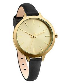 Black Leather Skinny Strap Watch  | New Look