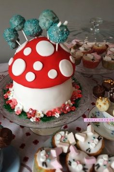 Caterpillar Mushroom Cake for a Mad Hatters Tea Party by Amy Brown.
