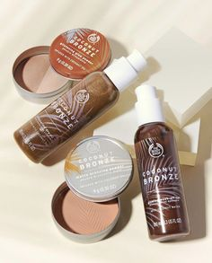 Meet the NEW The Body Shop Coconut Bronze Collection featuring matte and shimmer bronzers, gradual tan and wash off tan to get your body summer ready Natural Hair Treatments, Skin Treatments, Body Shop At Home, The Body Shop, Damp Hair Styles, Natural Hair Styles, Shops, Brittle Hair, Natural Moisturizer
