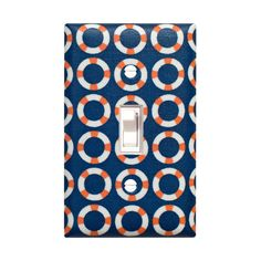 Nautical Light Switch Plate Cover / Bathroom Kids Room Nursery Decor / Lifesaver in Navy Blue Orange / Shore Thing By Michael Miller
