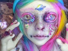 One of Elfgutz's dolls, Comet Custom Monster High Dolls, Custom Dolls, Scarification Tattoo, Big Eyes Artist, Kawaii Doll, Doll Painting, Anime Dolls, Doll Repaint, Fantastic Art