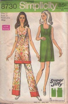 MOMSPatterns Vintage Sewing Patterns - Simplicity 8730 Vintage 70's Sewing Pattern GROOVY Mod Party Hostess Scoop Neck Band Trim Tunic Top or Mini Dress, Color Block Trim Pants SUPER JIFFY Size 12