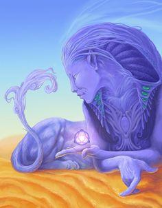 Sphinx by Mushrushu on DeviantArt Greek Creatures, Fantasy Creatures, Mythical Creatures, Fantasy Races, Fantasy Art, Sphinx Tattoo, Le Sphinx, Religion, Alien Art