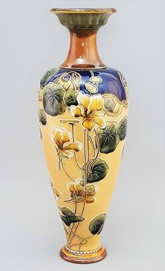 Tall High Art Nouveau Royal Doulton Slaters Stoneware Vase c1910 (32cm)