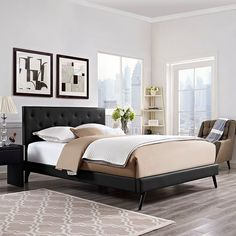 Terisa Queen Vinyl Platform Bed with Round Splayed Legs in Black