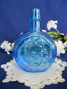 35a5c4882e6b Vintage Wheaton President Mini Bottle Blue Carnival Glass Andrew Jackson in  Collectibles
