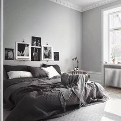 Black Room: 60 Photos and Color Decorating Tips - Home Fashion Trend Gray Bedroom, Home Bedroom, Modern Bedroom, Bedroom Decor, Bedroom Ideas, Dark Grey Bedding, Grey Comforter, Bedroom Small, Contemporary Bedroom