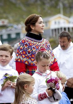 Crown Prince Frederik,Crown Princess Mary and their children visit Qaqortoq,Greenland 3 August 2014