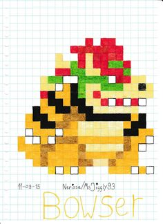 Bowser by on DeviantArt Pixel Art, Pearler Bead Patterns, Perler Patterns, Fusion Beads, Crafty Kids, Pony Beads, 8 Bit, String Art, Hobbies And Crafts