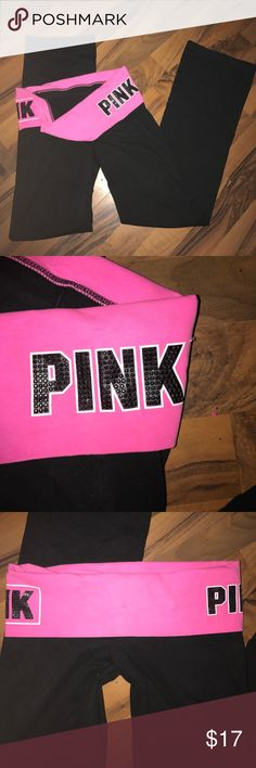 NEW BLING PINK YOGAS Neon pink & black diamonds S Size small hot pink fold over top and black yogas the words PINK across each side left and right written in Black DIAMONDS and outlined in white to make it stick out more!! Very shiny and eye catching very comfortable never worn no diamonds missing and in perfect shape! Offers welcome bundle and save with my discount! PINK Victoria's Secret Pants Track Pants & Joggers