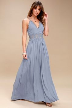be72e9ec28 There s no doubt that the This is Love Slate Blue Lace Maxi Dress
