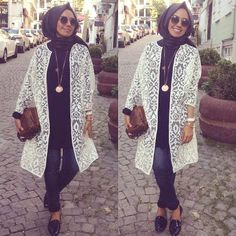 lace white cardigan,  Hulya Aslan hijab fashion looks http://www.justtrendygirls.com/hulya-aslan-hijab-fashion-looks/