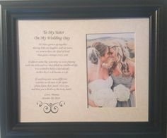 Wedding Gifts For My Sister : ... My Sister on My Wedding Day Personalized Custom Thank You Gift This is