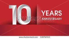 10 Years Anniversary celebration logo, flat design isolated on red background, vector elements for banner, invitation card and birthday party.