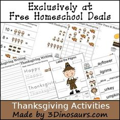 Thanksgiving:  Free Thanksgiving Activities Printable Pack - 16 Pages
