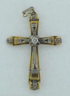Antique 18k Gold & Diamonds Cross Pendant
